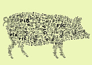 Pig Digital Art Posters - Text Pig Poster by Heather Applegate