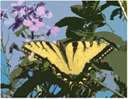 Butterfly Tapestries - Textiles Metal Prints - Textile Butterfly Metal Print by Gerian Dodds