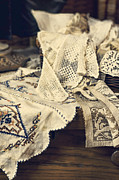 Doilies Framed Prints - Textile Collection Framed Print by Heather Applegate