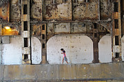 Texting Photo Prints - Texting Girl w/ Viaduct Print by Joe Kotas