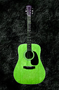 Acoustic Guitar Digital Art Posters - Texture Guitar Keylime Green - Music - Acoustic - Abstract Poster by Andee Photography