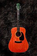 Guitars Mixed Media - Texture Guitar Orange 2 - Music - Acoustic - Abstract by Andee Photography