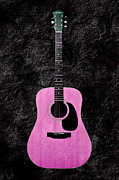 Guitars Mixed Media - Texture Guitar Pink 1 - Music - Acoustic - Abstract by Andee Photography