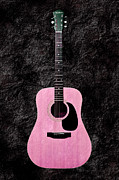 Music Mixed Media Prints - Texture Guitar Pink 3 - Music - Acoustic - Abstract Print by Andee Photography