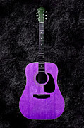 Acoustic Guitar Digital Art Metal Prints - Texture Guitar Purple 1 - Music - Acoustic - Abstract Metal Print by Andee Photography