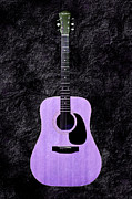 Guitars Mixed Media - Texture Guitar Purple 2 - Music - Acoustic - Abstract by Andee Photography