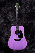 Guitars Mixed Media - Texture Guitar Purple 3 - Music - Acoustic - Abstract by Andee Photography