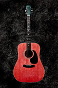 Guitars Mixed Media - Texture Guitar Red 1 - Music - Acoustic - Abstract by Andee Photography
