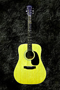 Guitars Mixed Media - Texture Guitar Yellow 1 - Music - Acoustic - Abstract by Andee Photography