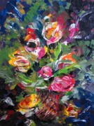 Impasto Oil Paintings - Textured Roses Painting by Mario  Perez