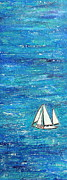 Sailboat Ocean Painting Originals - Textured sea with sailboat by Lauretta Curtis