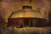 Old Fence Framed Prints - Textured Vermont Round Barn Framed Print by Deborah Benoit