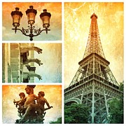 Paris Metal Prints - Textures of Paris Collage Metal Print by Carol Groenen