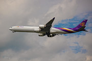 American Airways Metal Prints - Thai Airways A340 Airbus Metal Print by Rene Triay Photography