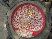 Thai Thangka Ceramics Originals - Thai Angel and Giant by Rcom ThaiArt