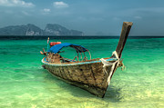 Moored Boat Framed Prints - Thai Boat  Framed Print by Adrian Evans