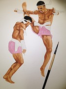 Thai Drawings - Thai Boxing by Adisak Chiwhanung
