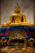 Stone Bowl Digital Art Posters - Thai Golden Buddha Poster by Adrian Evans