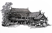 Thai Drawings - Thai house Sketch by Thanes