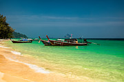 Idyllic Digital Art Prints - Thai Longboats Print by Adrian Evans