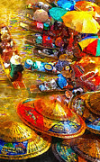 Thailand Paintings - Thai Market Day by Mo T