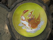 Thai Thangka Ceramics Originals - Thai Moon Angel by Rcom ThaiArt