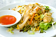 Spaghetti Prints - Thai style noodles with vegetables and chicken  Print by Tosporn Preede