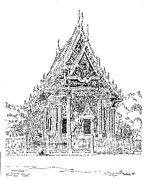Thai Drawings - Thai Temple by L D Williams