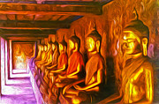 Thailand Paintings - Thailand Buddhas by Gregory Dyer