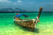 Shallow Framed Prints - Thailand Long Boat Framed Print by Adrian Evans