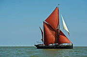 Old And New Metal Prints - Thames barge Hydrogen and wind farm Metal Print by Gary Eason