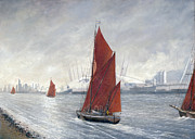 Eric Bellis Prints - Thames Barges Passing the o2 Arena Print by Eric Bellis