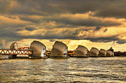 Flood Framed Prints - Thames Barrier Framed Print by Jasna Buncic
