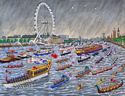Ronald Haber Framed Prints - Thames Diamond Jubilee Pageant  Framed Print by Ronald Haber