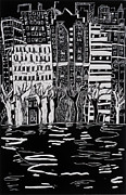 City Night Scene Paintings - Thames in Winter by Hilary Rosen