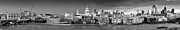 London Skyline Art - Thames with St Pauls panorama black and white version by Gary Eason