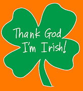 Italian Landscapes Paintings - Thank God Im Irish  - shamrock by Sara Catena