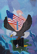 Eagle Tapestries - Textiles Prints - Thank You hand embroidery Print by To-Tam Gerwe