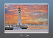 Sunrise Lighthouse Framed Prints - Thank You Lighthouse at Sunrise Framed Print by Michael Peychich
