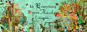 Plaque Mixed Media Prints - Thanksgiving Autumn themed Inspirational Plaque Print by Janelle Nichol
