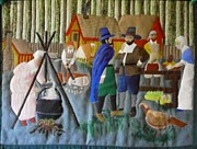 Acrylic Art Tapestries - Textiles Posters - Thanksgiving Day Poster by Linda Egland