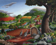 Enchanting Posters - Thanksgiving Farm Wild Turkeys Landscape Folk Art Rural Country life Americana American scene Poster by Walt Curlee