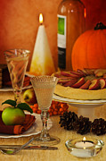 Lit Metal Prints - Thanksgiving Table Metal Print by Christopher Elwell and Amanda Haselock