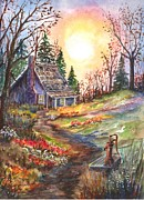 Old Water Pump Prints Prints - That Old Home in the Woods Print by Carol Wisniewski