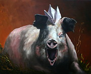 Lisa Phillips Owens Painting Prints - That Pig Got On A Paper Hat Print by Lisa Phillips Owens
