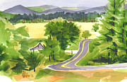 Watercolors Painting Originals - That Ribbon of Highway out JJ by Kip DeVore