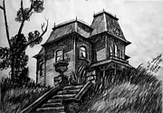 Haunted House Drawings Framed Prints - That Window... Framed Print by Salman Ravish