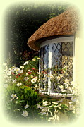 Carla Parris Posters - Thatched Cottage Window Poster by Carla Parris
