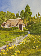 Plein Air Metal Prints - Thatched Roof Metal Print by C Wilton Simmons Jr