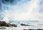 Michelle Wiarda - Thatcher Island Lights Rockport Massachusetts Watercolor Painting
